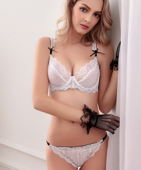 Sexy blonde girl in bra and panties