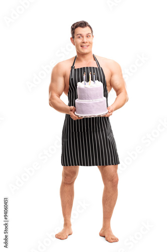 Naked man happy birthday cake
