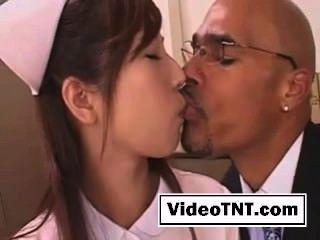 Asian girl kissing black cock