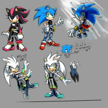 Sonic shadow and silver as girls