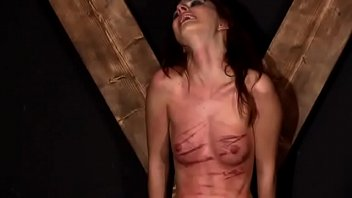 Brutal tit whipping torture