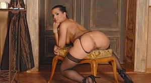 Cum on panties ass bent over