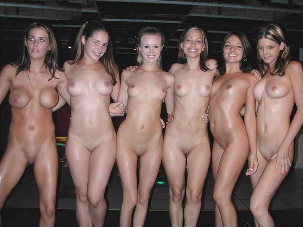 Topless college girl group
