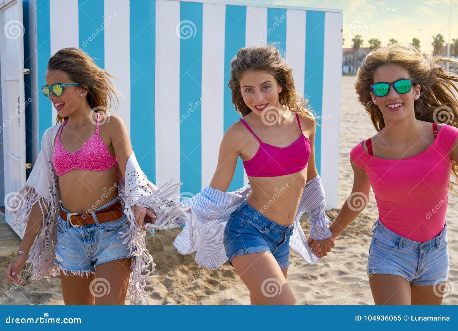 Teen girls at beach