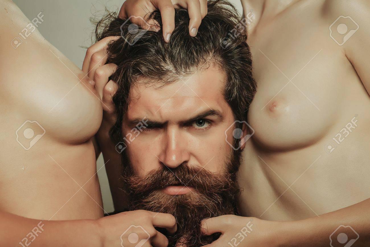 Sexy handsome beard man naked photo