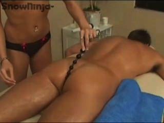 Hand job dildo in ass