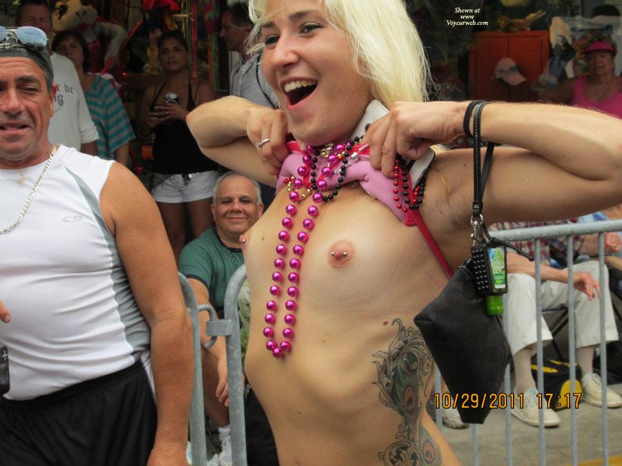 Girl pierced nipples in public