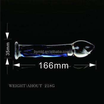 Glass dildo anal stimulation