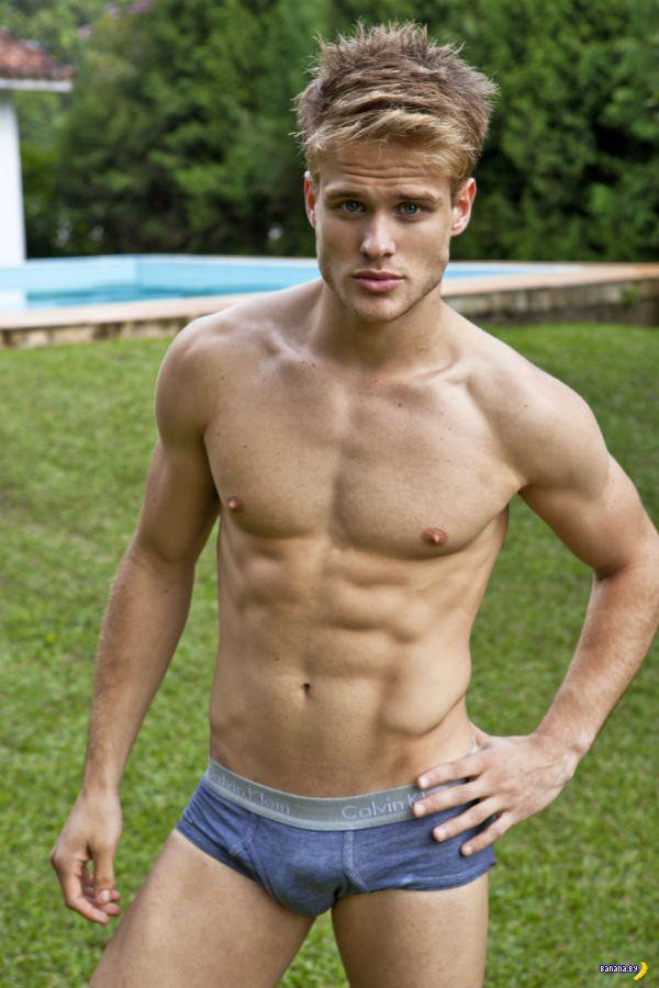 Naked blonde men with abs