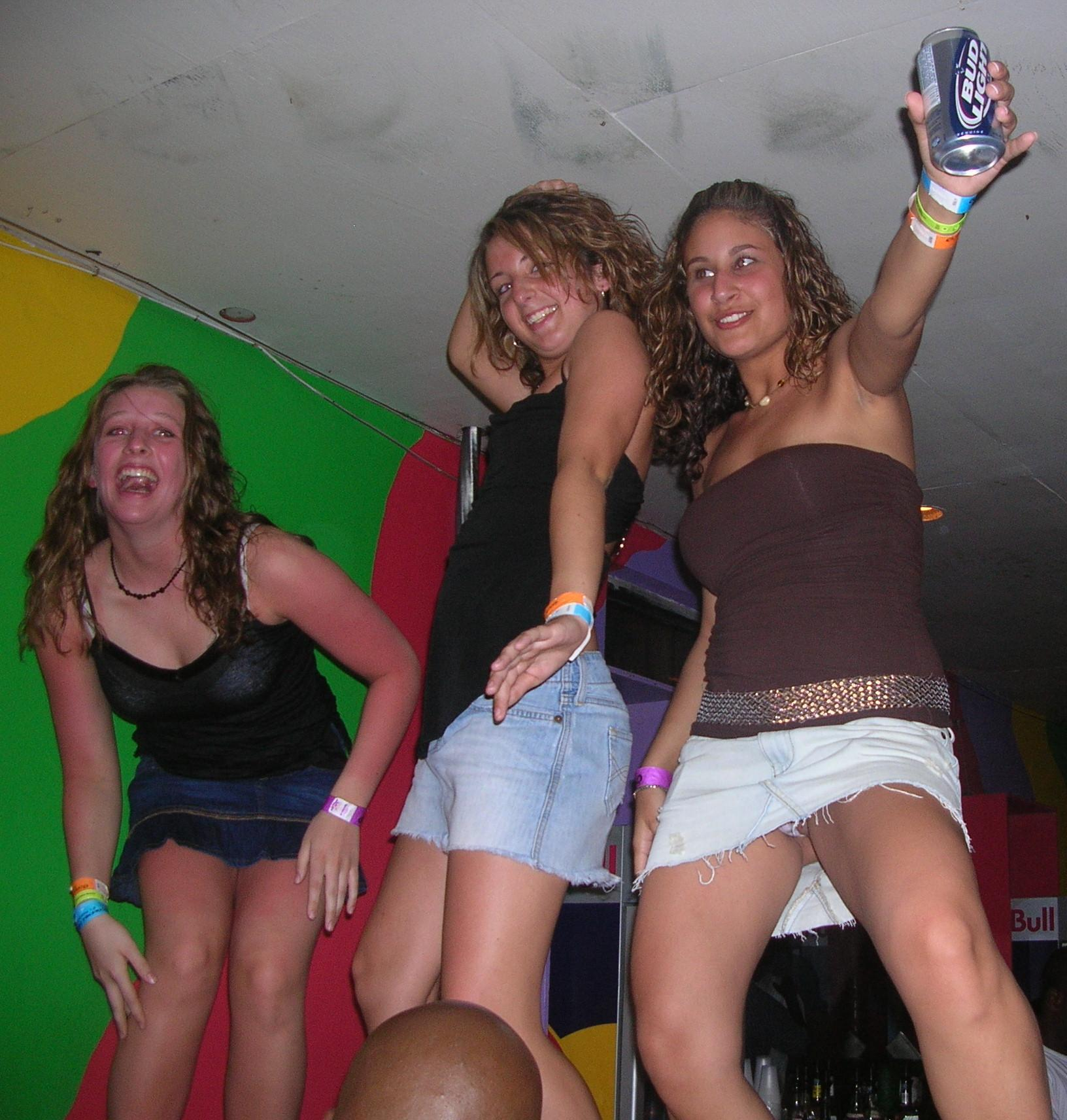 Drunk club girls upskirt
