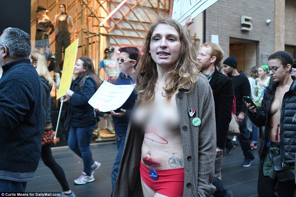 Picture of naked porn protest