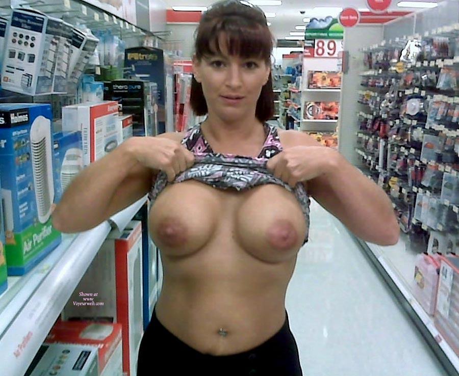 My wife flashing big tits