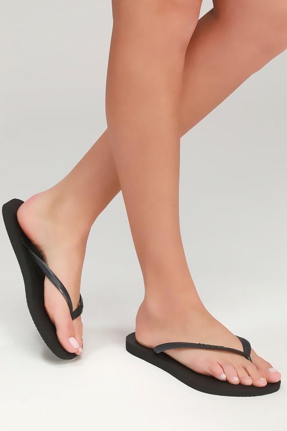 Sexy toes black flip flops