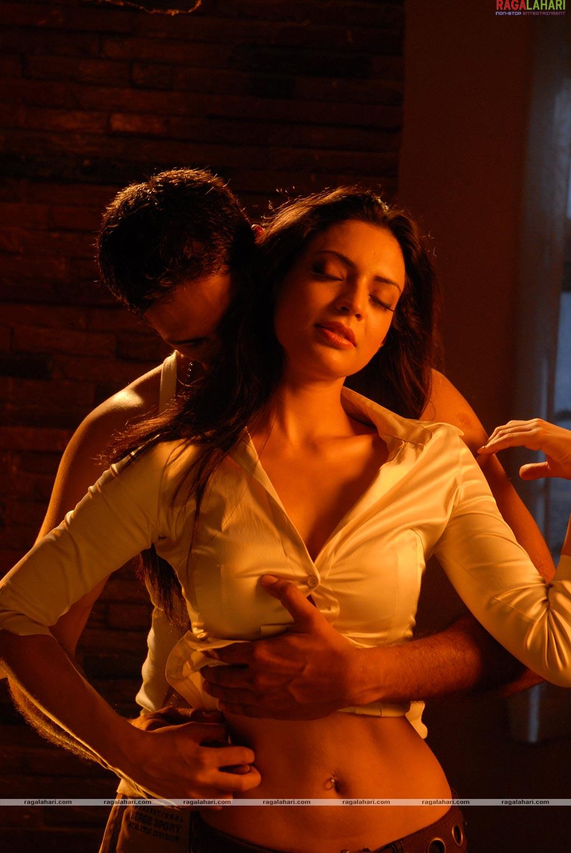 Indian actress boob press