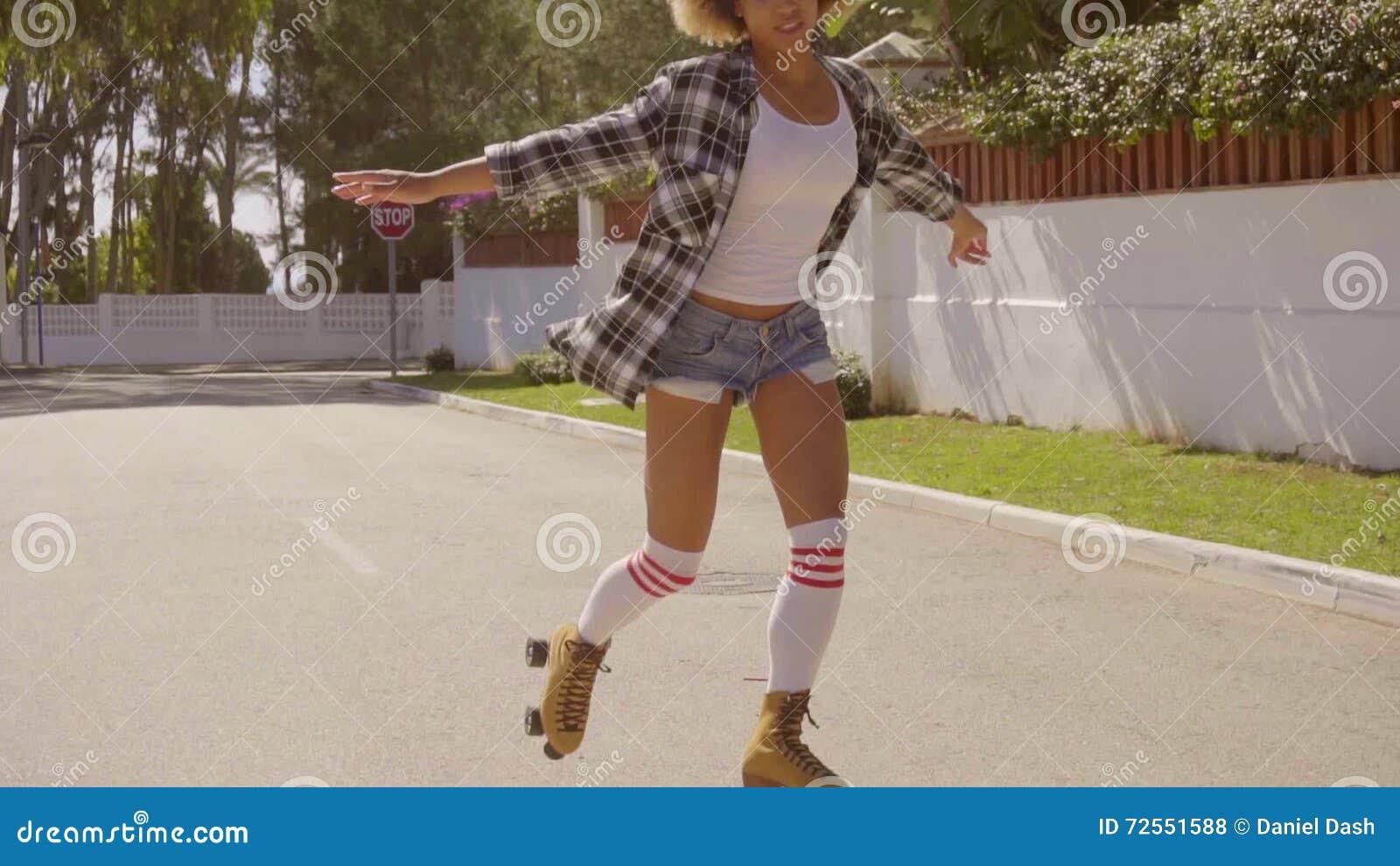 Girls in socks and roller skates