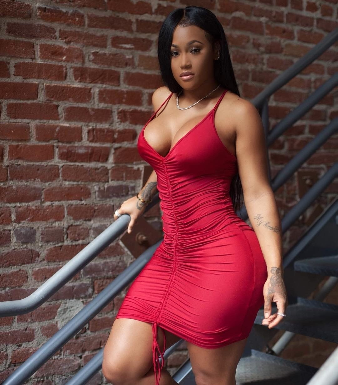 Sexy ebony tight dress pictures