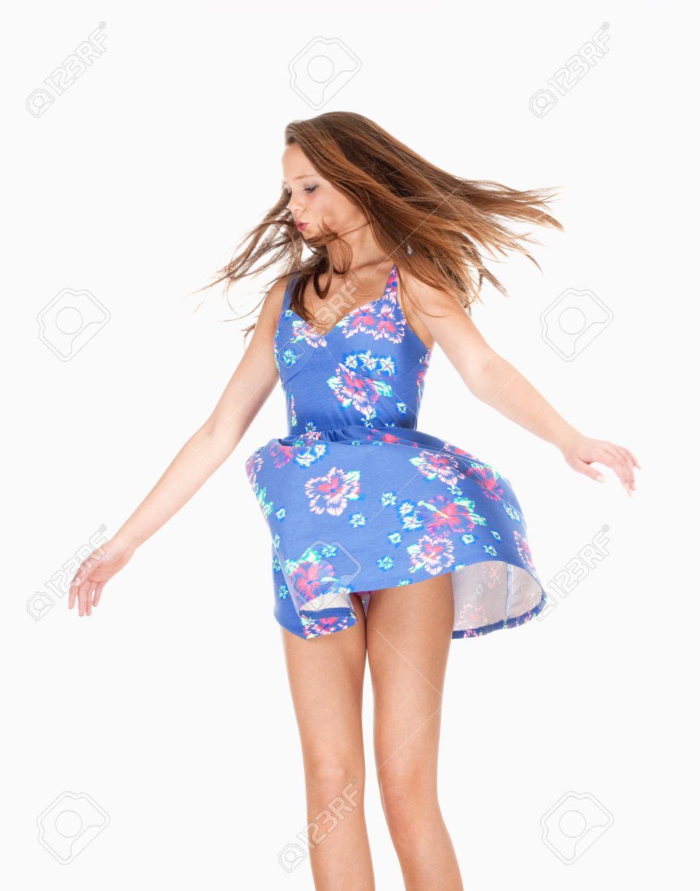 Girls lifting up skirts