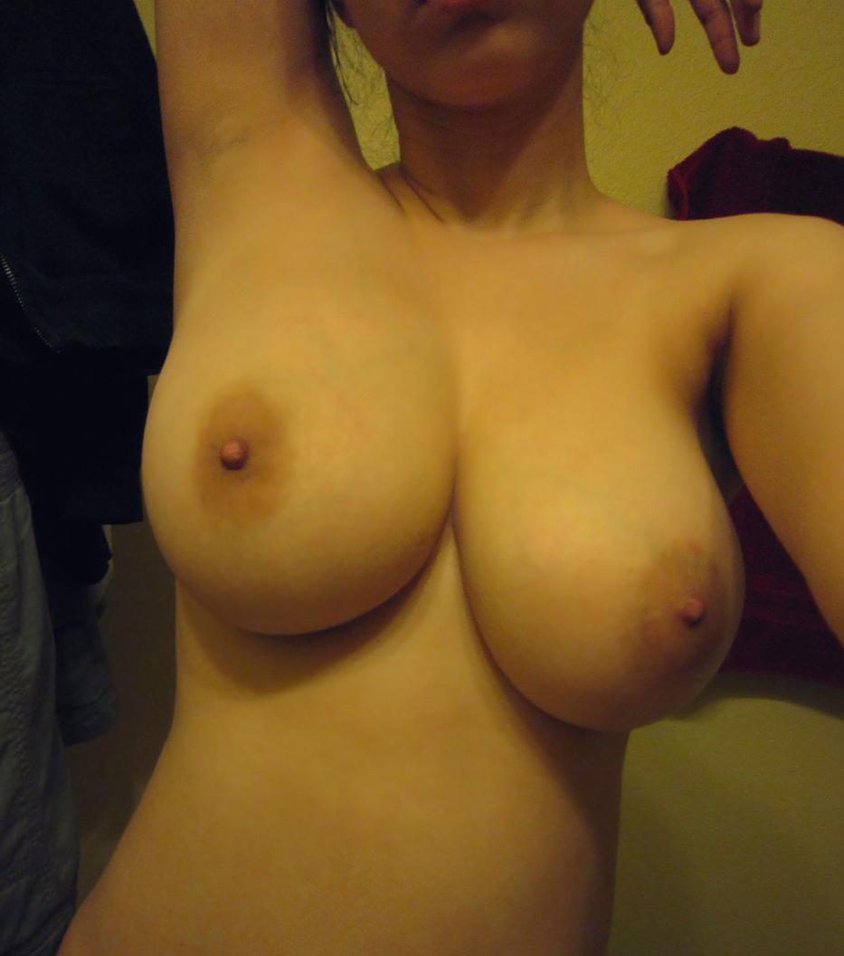 Girls selfie on boobs