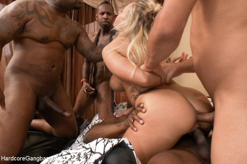 Black men gangbang blonde milf