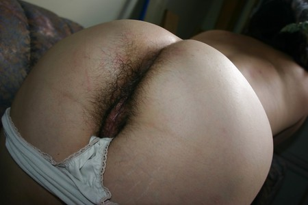 Panties pulled down hairy pussy