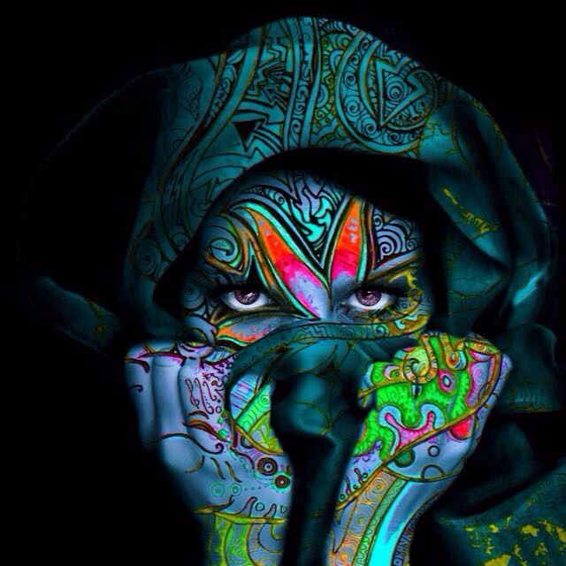 Trippy psychedelic body art hot