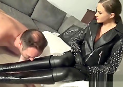 High heel leather boots porn hard sex