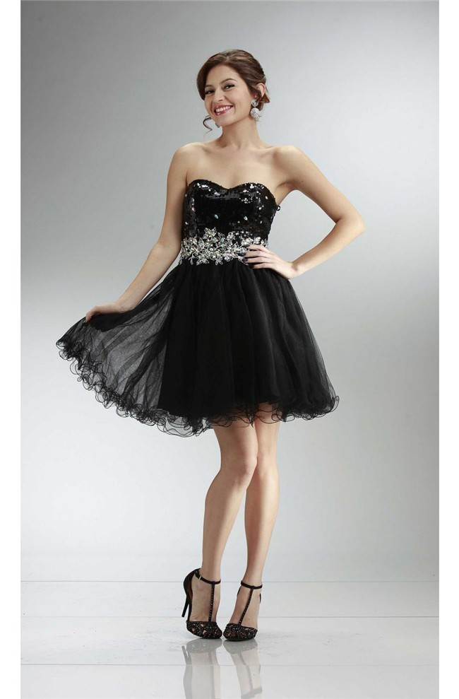 Short black strapless prom dresses