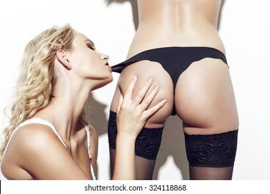 Lesbians hot ass thong