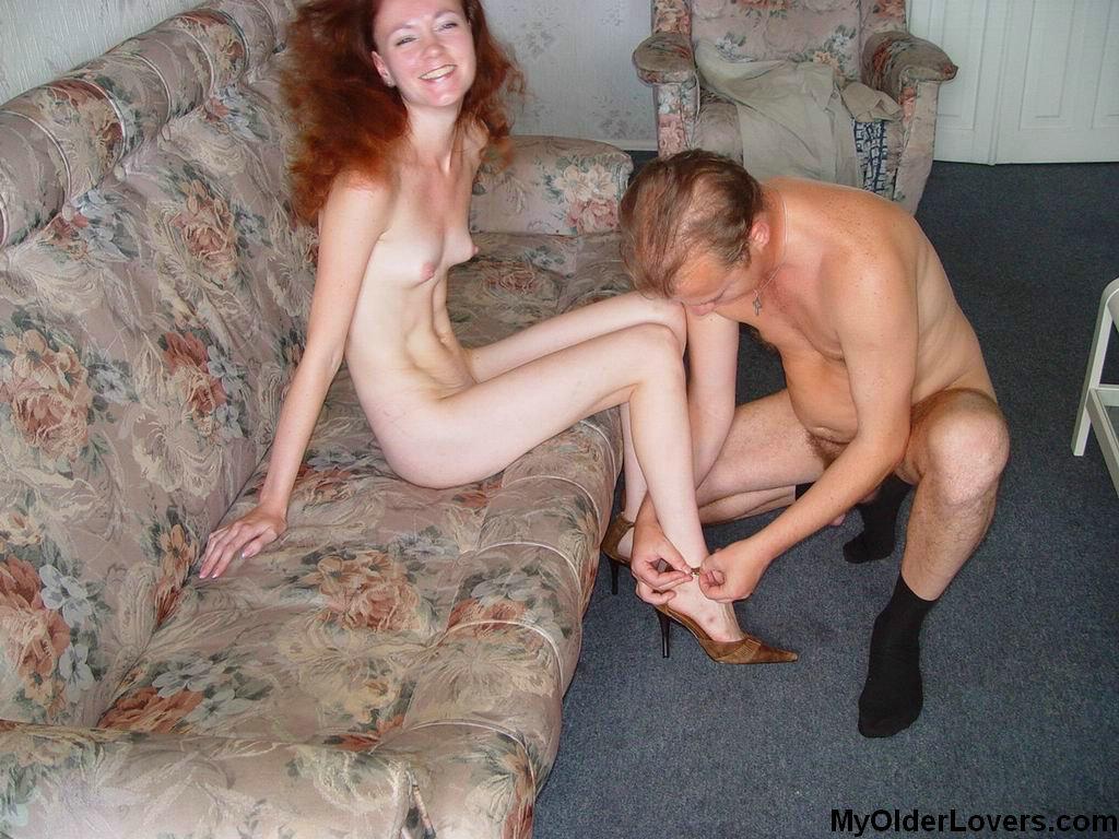 Skinny redhead teen with older man