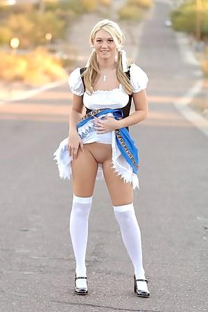 Nearly nude girls in public