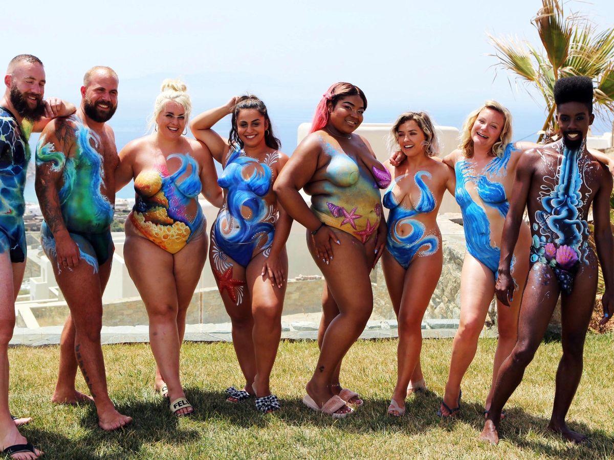 Family nude on beach