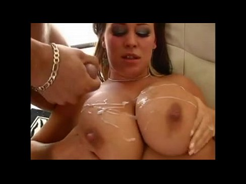 Big boobs covered with jizz