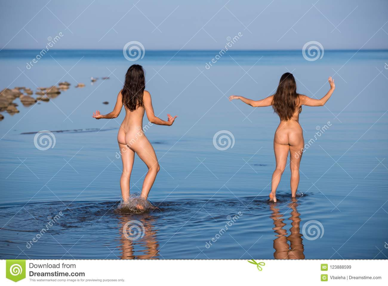 Naked girls on nude beach