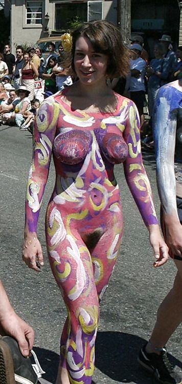 Girl painting body paint