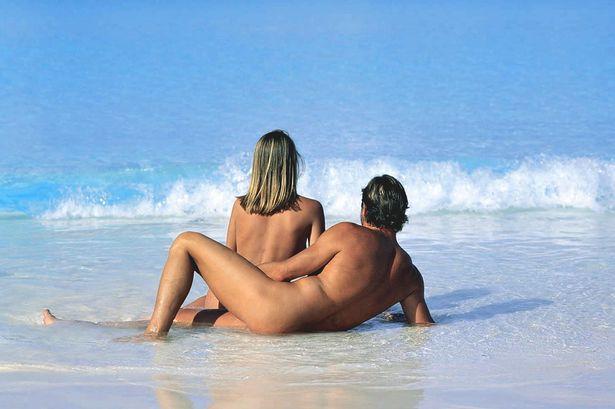 Mature couple in nudist camp