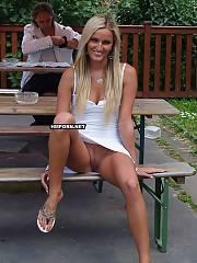 Milf public spread legs pussy