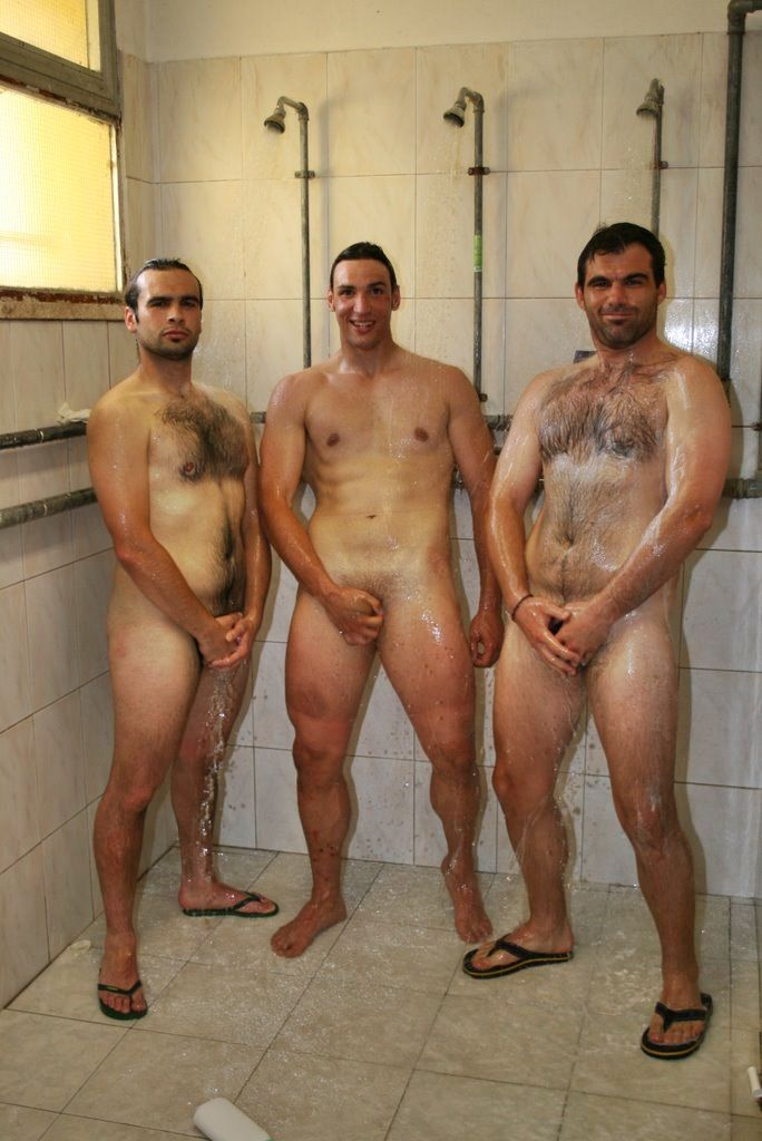 Naked locker room shower