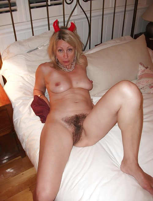Blonde milf with hairy pussy