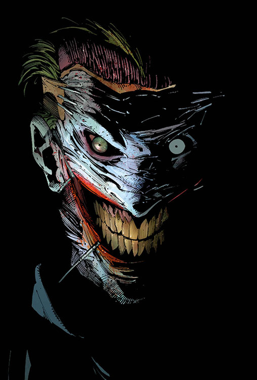 Batman comics joker cuts off his face