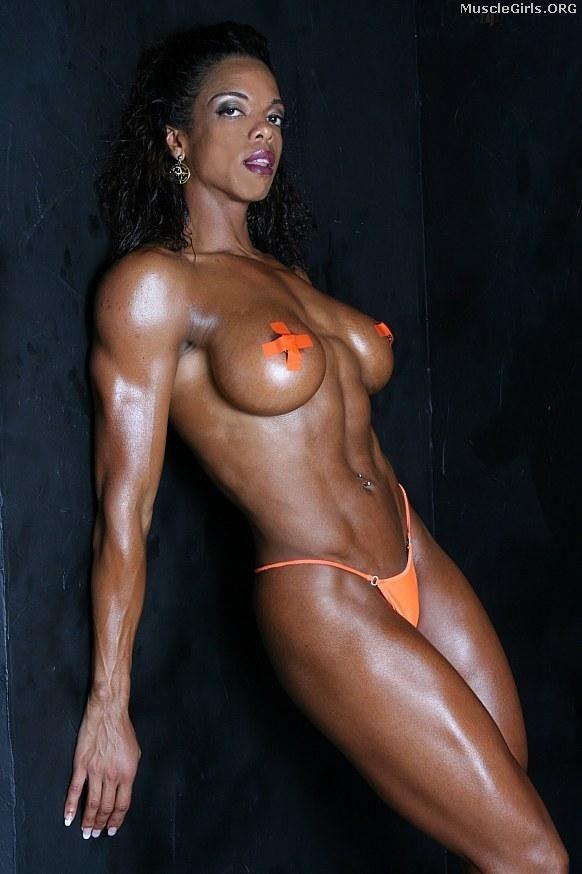 Muscular ebony nude women