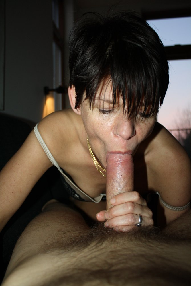 Short hair girls sucking cock