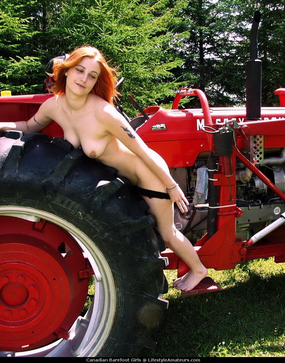 Women having sex on tractors