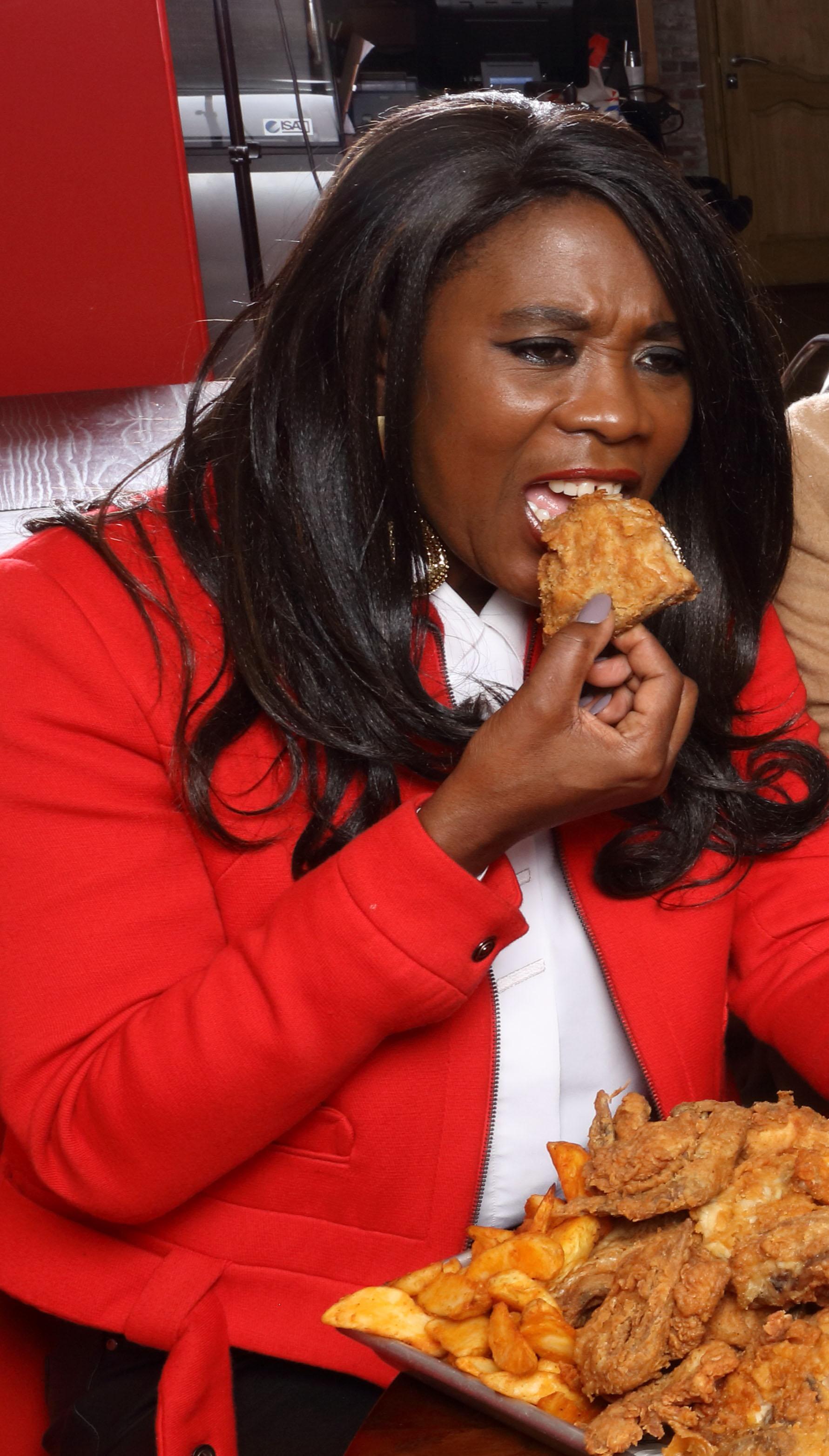 Fat girl eating food